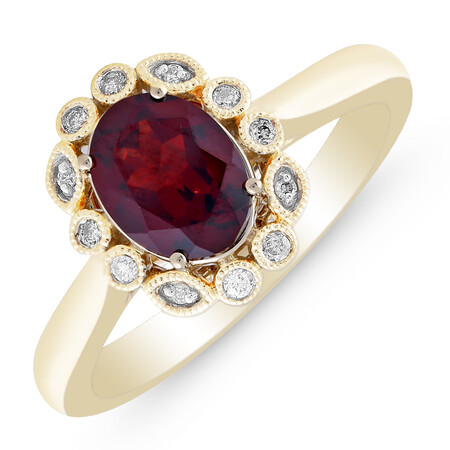 Ring with Created Garnet & Diamond in 10kt Yellow Gold