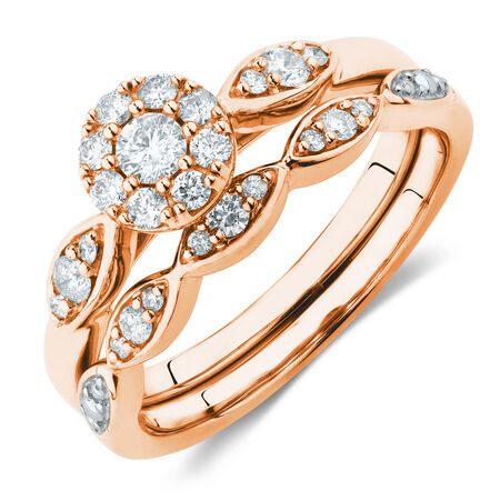 Bridal Set With 0.40 Carat TW of Diamonds In 10kt Rose Gold