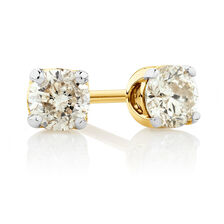 Stud Earrings with 0.30 Carat TW of Diamonds in 10kt Yellow Gold