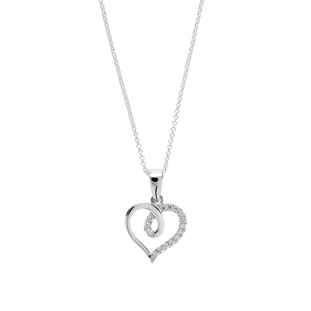 Pave Loop Heart Pendant with White Cubic Zirconia in Sterling Silver
