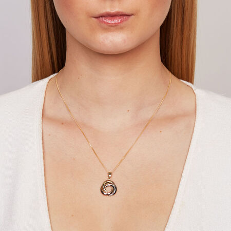 Pendant in 10kt Yellow, White & Rose Gold