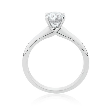 Solitaire Engagement Ring with a 1 Carat TW Certified Canadian Diamond in 14kt White Gold