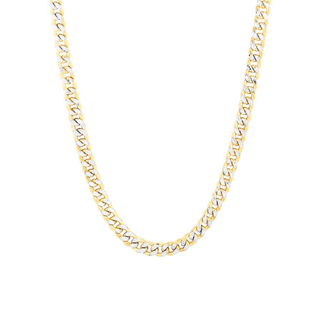 "55cm (22"") Curb Chain in 10kt Yellow & White Gold"