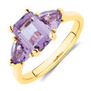 Ring with Amethyst in 10kt Yellow Gold