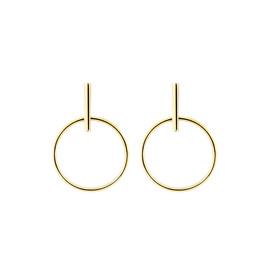 Open Circle Drop Stud Earrings in 10kt Yellow Gold