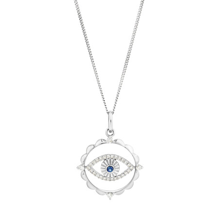 Evil Eye Talisman Pendant with Sapphire & 0.10 Carat TW of Diamonds in Sterling Silver