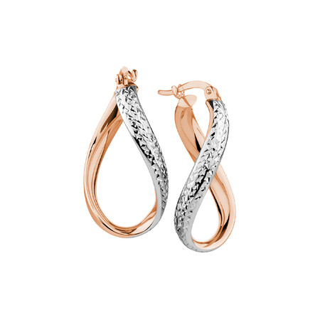 Hoop Earrings in 10kt Rose & White Gold
