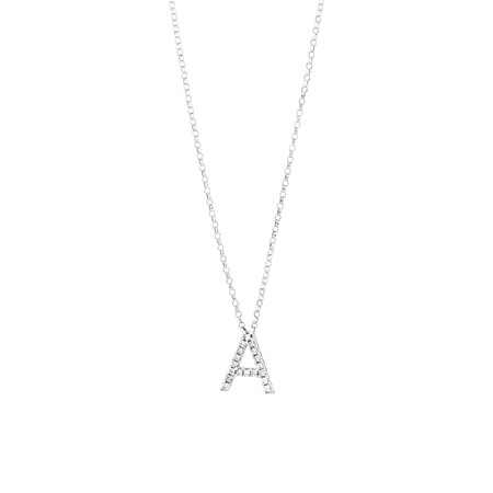 """""""A"""" Initial Necklace with 0.10 Carat TW of Diamonds in 10kt White Gold"""