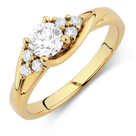 Engagement Ring with 0.60 Carat TW of Diamonds in 14kt Yellow Gold