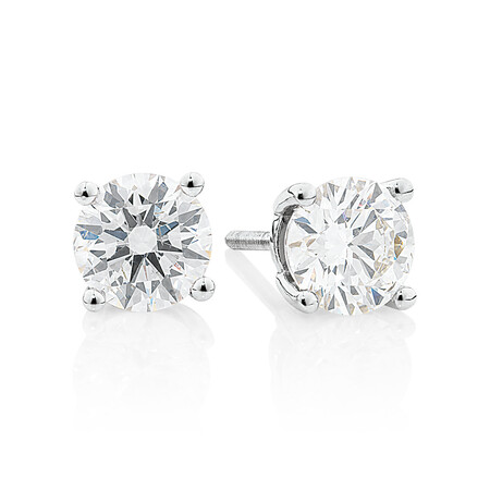 Laboratory-Created 1.40 Carat Stud Earrings in 14ct White Gold
