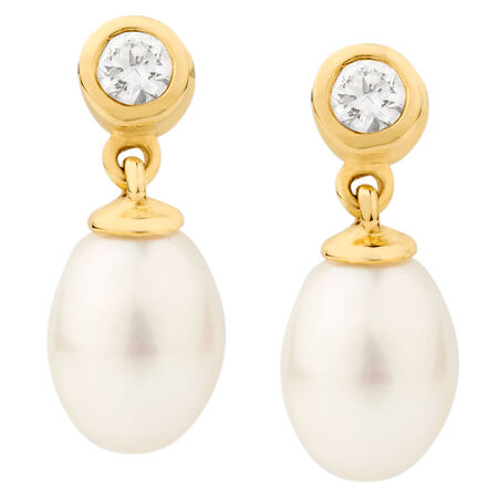Drop Earrings with Cultured Freshwater Pearl & Cubic Zirconia in 10kt Yellow Gold