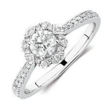 Engagement Ring with 0.61 Carat TW of Diamonds in 14kt White Gold