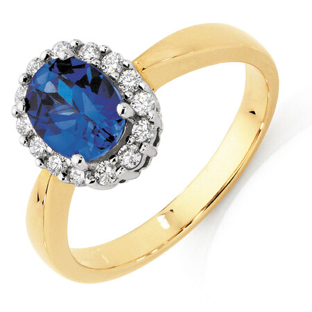Ring with Created Sapphire & 1/4 Carat TW of Diamonds in 10kt Yellow & White Gold