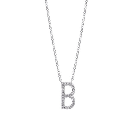 """B"" Initial necklace with 0.10 Carat TW of Diamonds in 10kt White Gold"