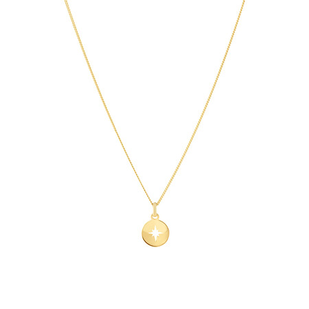 North Star Disc Pendant In 10kt Yellow Gold