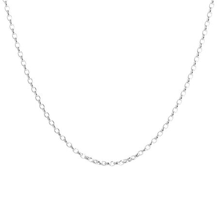 """60cm (24"""") Oval Rolo Chain in Sterling Silver"""