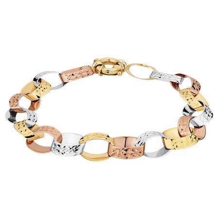 "19cm (7.5"") Rolo Bracelet in 10kt Yellow, White & Rose Gold"