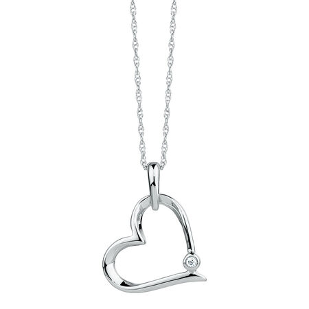 Heart Pendant with A Diamond in Sterling Silver