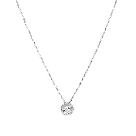Sir Michael Hill Designer Halo Pendant with Chain with 0.45 Carat TW of Diamonds in 18kt White Gold