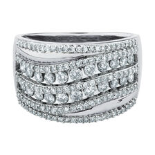 Wave Diamond Ring with 1 Carat TW of Diamonds in 10kt White Gold