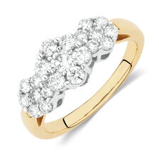 Online Exclusive - Cluster Ring with 1 Carat TW of Diamonds in 18kt Yellow and White Gold