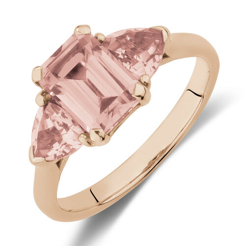 Three Stone Ring with Created Peach Sapphire in 10kt Rose Gold