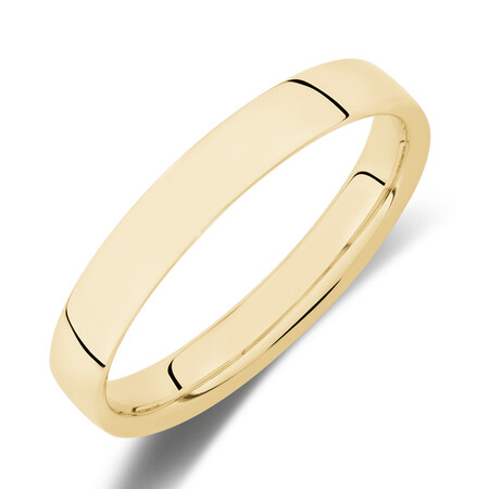 Reverse Bevelled Wedding Band in 10kt Yellow Gold
