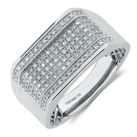 Men's Ring with 0.20 Carat TW of Diamonds in Sterling Silver
