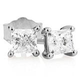 Stud Earrings with 0.96 Carat TW of Diamonds in 14kt White Gold