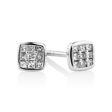 Stud Earrings with 0.12 carat TW of Diamonds in Sterling Silver