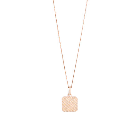 Small Square Disc Pendant in 10kt Rose Gold