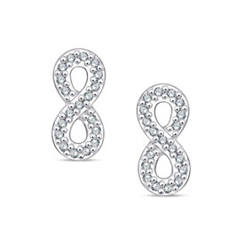 Infinity Stud Earrings With Diamonds In Sterling Silver