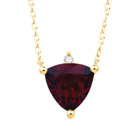 Necklace with Created Ruby and Diamond in 10kt Yellow Gold