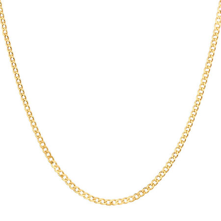 "50cm (20"") Hollow Curb Chain in 10ct Yellow Gold"