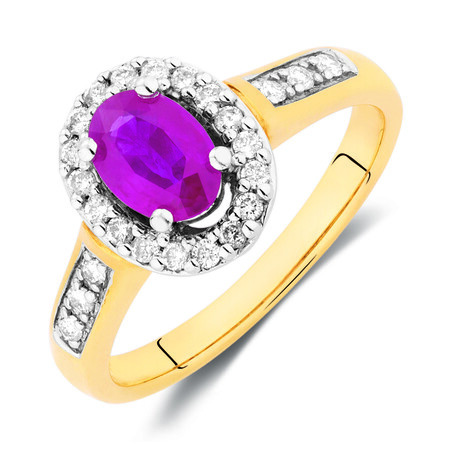 Ring with Ruby & 1/4 Carat TW of Diamonds in 10kt Yellow Gold
