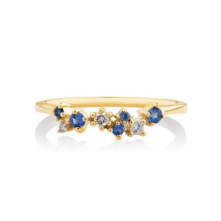 Ring with Created Blue Sapphire & Diamonds in 10kt Yellow Gold