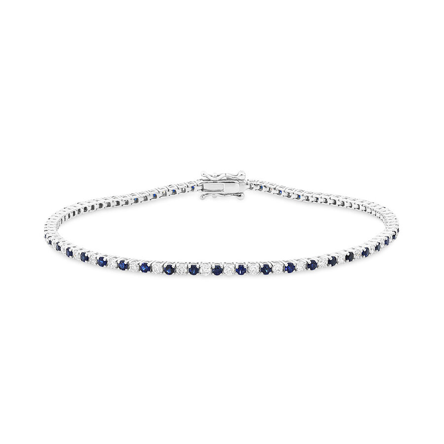 Tennis Bracelet with Natural Sapphire & 1 Carat TW of Diamonds in 10kt White Gold