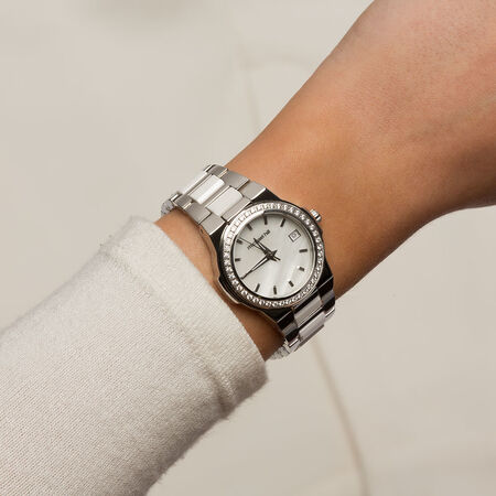 Ladies Watch with Mother of Pearl in White Ceramic & Stainless Steel