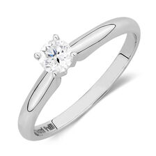 Solitaire Engagement Ring with a 0.34 Carat Diamond in 14kt White Gold