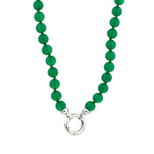 Online Exclusive - Necklace with Green Agate in Sterling Silver