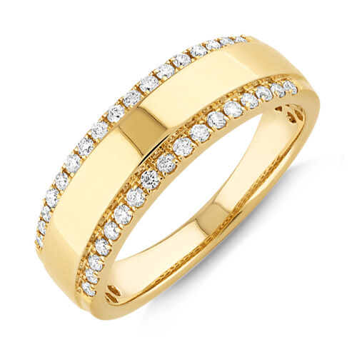 Two Row Ring with 0.37 TW of Diamonds In 10kt Yellow Gold