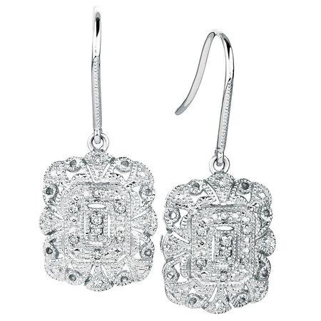 Drop Earrings with Diamonds in Sterling Silver