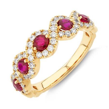 Bubble Ring with Natural Ruby & 0.46 Carat TW of Diamonds In 14kt Yellow Gold