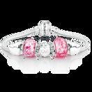 Pink Glass & Sterling Silver Hearts Charm Bracelet