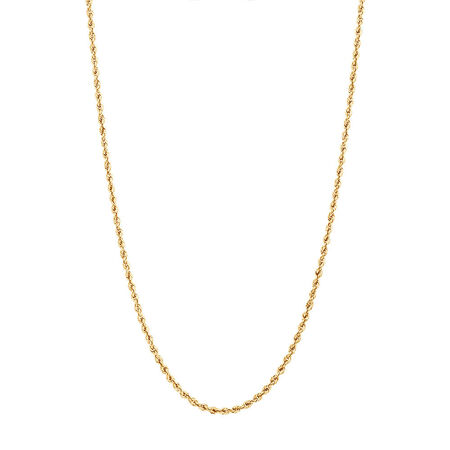 """45cm (18"""") Glitter Rope Chain in 10kt Yellow Gold"""