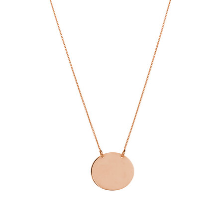 Oval Disc Necklace in 10kt Rose Gold