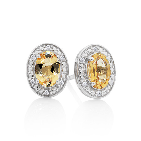 Halo Earrings with Citrine and 0.04 Carat TW of Diamonds in Sterling Silver