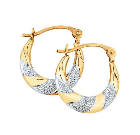 Patterned Twist Earrings in 10kt Yellow & White Gold