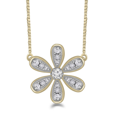 Flower Pendant with 0.12 Carat TW of Diamonds in 10kt Yellow Gold