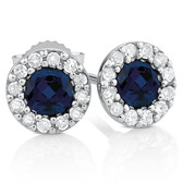 Stud Earrings with Sapphires & Diamonds in 10kt White Gold